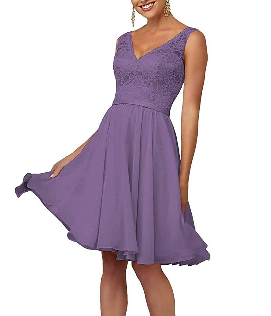 Light Purple Short VNeck Homecoming Dresses for Women Juniors Party Prom Gown Lace Bodice