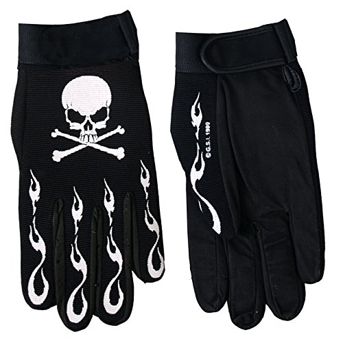 Hot Leathers Skull and Crossbones Mechanic Gloves (Black, Large)