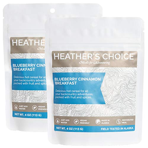 (Heather's Choice, Blueberry Cinnamon Gluten-Free Buckwheat Breakfast, Wholesome, Allergen-Friendly Dehydrated Food for Backpacking, Camping, Hunting and Travel (Pack of 2))
