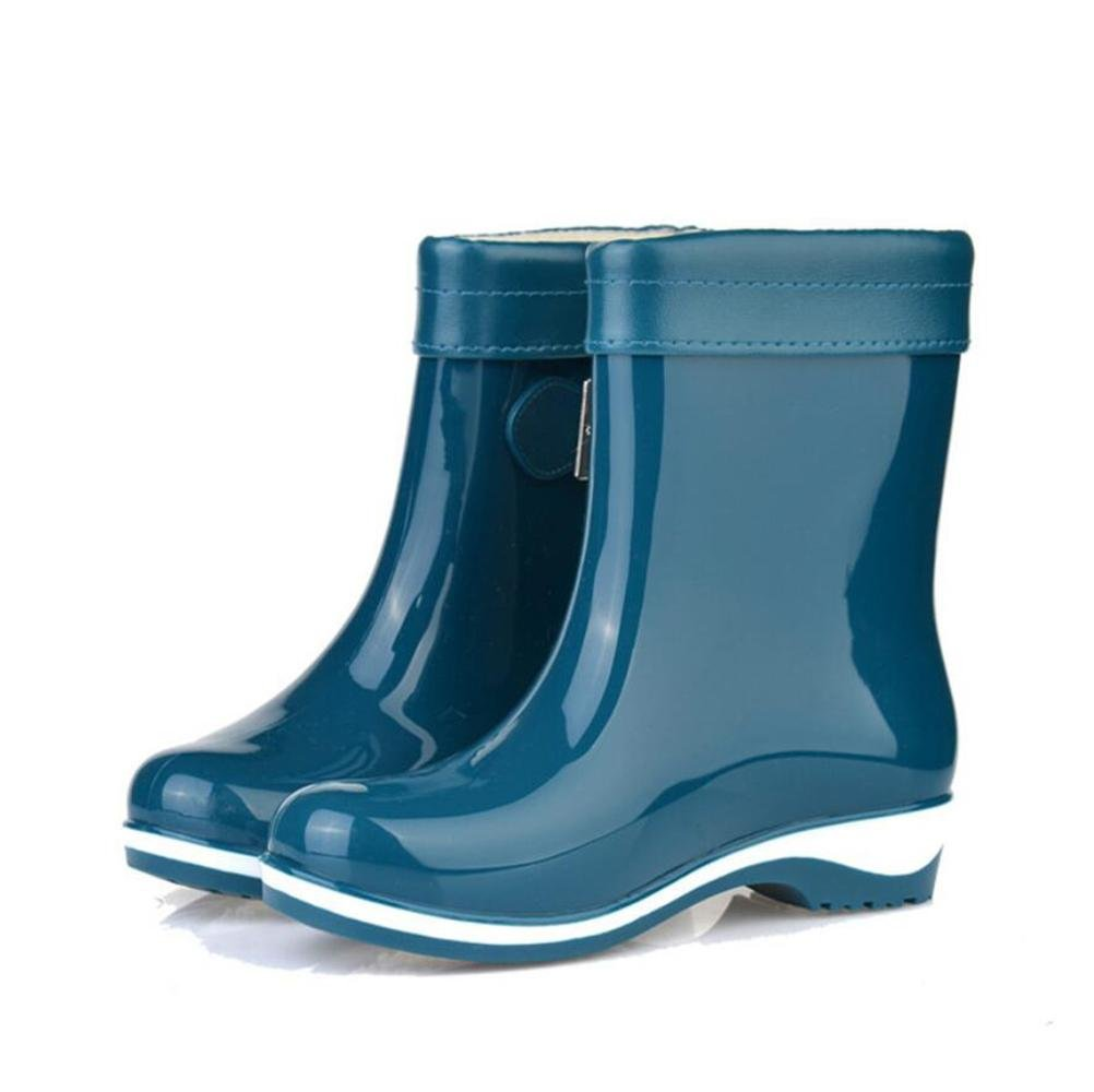 SIHUINIANHUA Süßigkeit Farbige Regenstiefel Rutschfeste Regenstiefel Damenmode Freizeitschuhe Flache Flache Flache Wasserstiefel 4 38 6b6e1d
