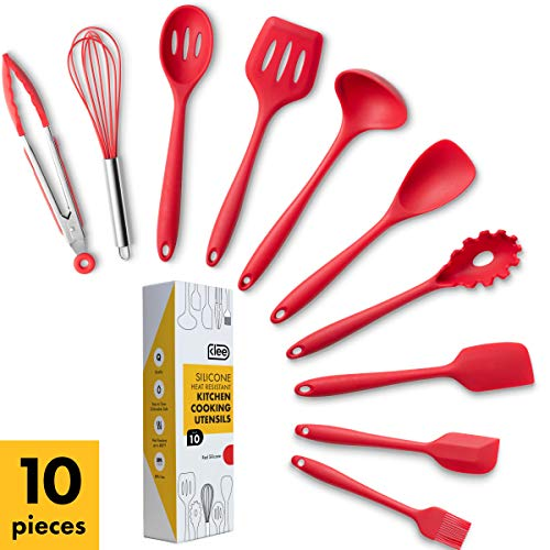 Klee 10-Piece Heat-Resistant Silicone Cooking Utensil Set, Red