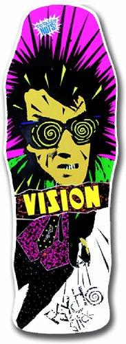 Vision Original Psycho Stick Reissue Skateboard Deck, White, 10 x 30-Inch