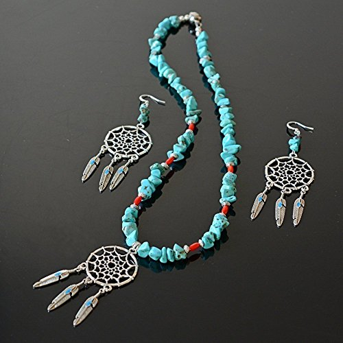Handmade Native American Inspired Feather Dream Catcher Necklace and Earrings Set – Coral, Turquoise