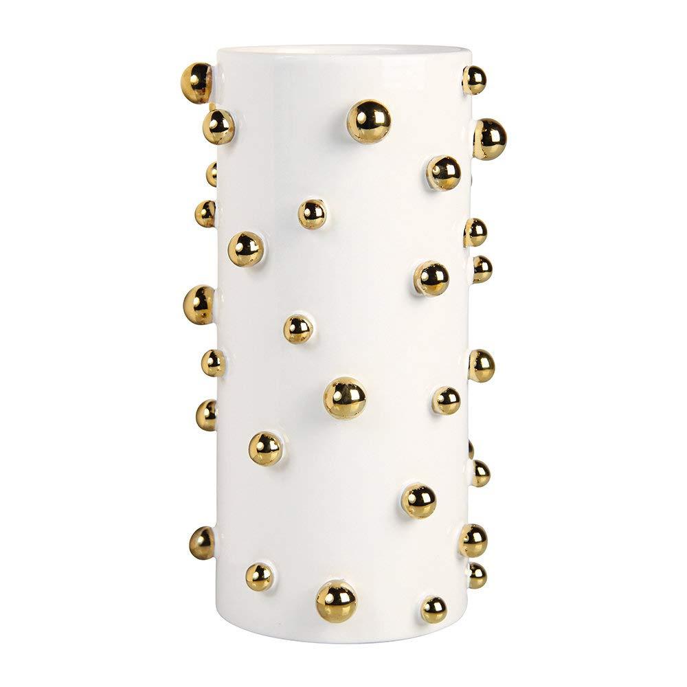 Klevering Dotted Vase - White/Gold