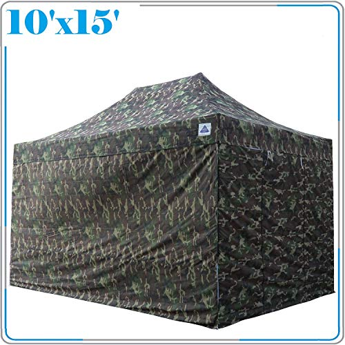 DELTA Canopies 10'x15' Ez Pop Up Canopy Party Tent Instant Gazebos 100% Waterproof Top with 4 Removable Sides Camouflage - E (Camouflage Canopy)