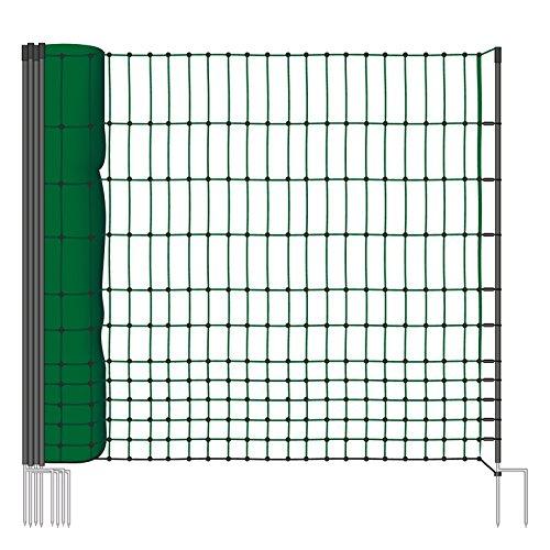 50m Hühnernetz von VOSS.farming, 112cm, 2 Spitzen, grün, ohne Strom Geflügelzaun Welpenauslauf Agiligty Weidezaun