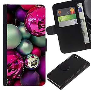 iBinBang / Flip Funda de Cuero Case Cover - Bulbos púrpura decoraciones rosadas del trullo - Apple Iphone 6 4.7