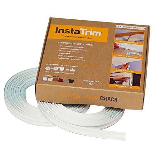 InstaTrim - Universal, Flexible, Adhesive Trim Solution - Cover Gaps Between Walls, Floors, Ceilings, and More (White), Pack of 2 ()