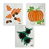 Wet-It Swedish Dishcloth Set of 3 - Fall Leaves and Acorns, Pinecones, Pumpkin - NEW