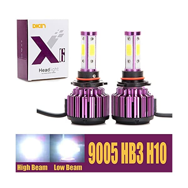 LED Headlight Bulbs 20000LM 200W Cool White 6000K Replace High Beam/Low Beam/Fog Light 4 Side COB Chips 360 Degree Super Bright All In One Conversion Kit