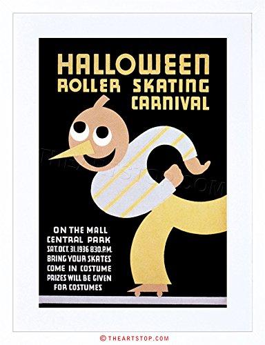 The Art Stop Sport Roller Skating Halloween Chicago USA Vintage Framed Print F12X6442 -