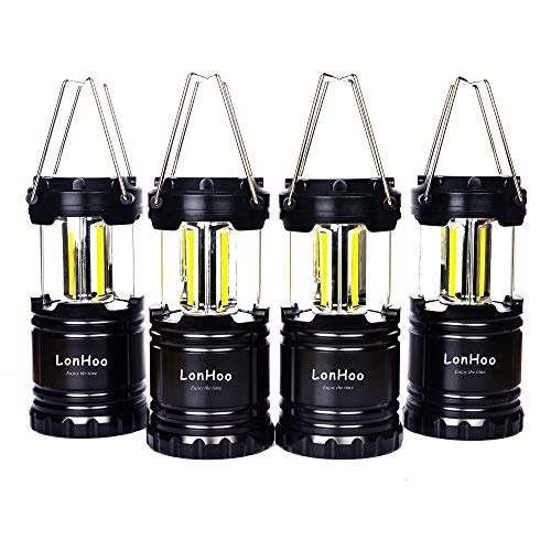 LonHoo 4 pack Lantern Camping Light Energy Safety Ultra Bright COB Lights Portable Emergency Lighting Collapsible Handle Survival Kit for Emergency, Hurricane, Outage, Night, Fishing, BBQ,Hiking