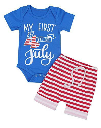 My First 4th of July Baby Boy Outfits Romper + Stripes Shorts 2PCS Clothes Set 6-9 Months ()