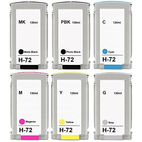 LiC-Store HP 72 Compatible Ink Cartridge Full With 130ML Ink For HP Designjet T610 T620 T770 T790 T795 T1100 T1120 T1200 T1300 T2300 Printer (6PK-1SET) 70 130ml Photo Black Ink