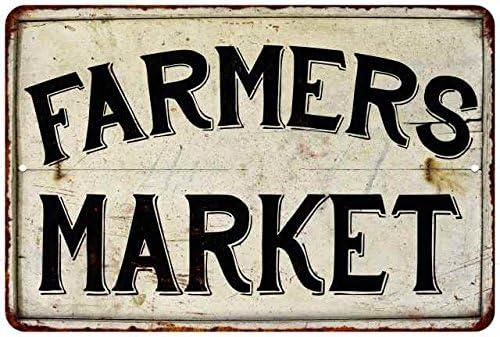 Farmers Market Sign Farmer Decor Signs Fresh Kitchen Vintage Grocery Farmhouse Decorations Pantry Decorative Plaque Rustic Tin Wall Art 12 x 18 Matte Finish Metal 112180020089