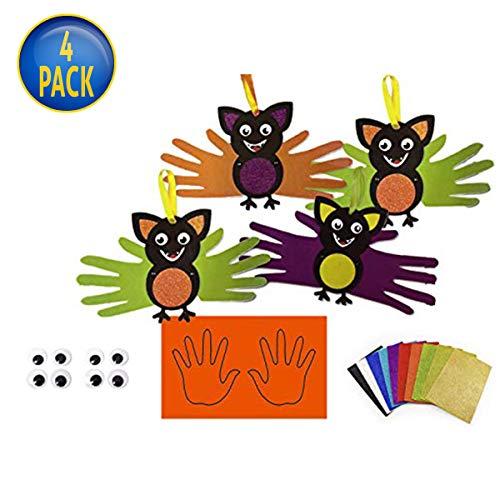 4Home Halloween DIY Bat Decorations - Fun & Safe Activity - Great Craft for Kids Activities, Halloween Events & Schools - Set of 4 -