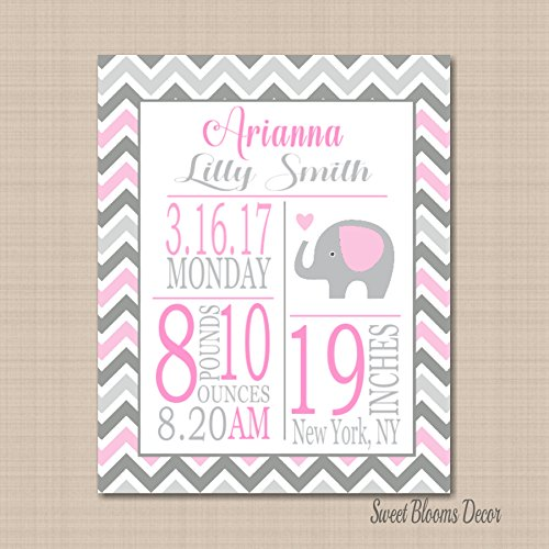 Elephant Birth Print,Pink Gray Elephant Birth Print,Elephant Birth Announcement,Pink Gray Elephant Nursery Wall Art 8X10 UNFRAMED PRINT(NOT CANVAS) (Birth Pink Announcement)