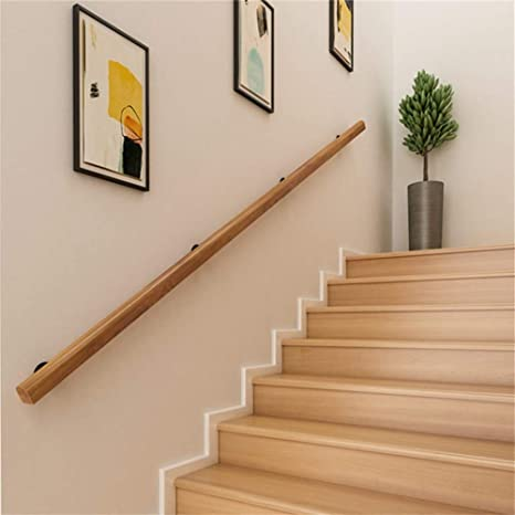 Barrier-Free Staircase Grab Bar for Elderly Wall Mounted Home Garden Corridor Lofts Decking Railings Professional Pine Handrails Complete Kit CMMC Non-Slip Wood Handrails for Indoor Stairs