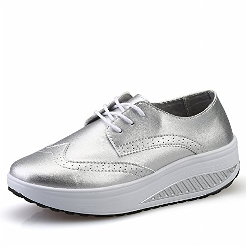 Pure Women silver Head Color Leisure Pine Sports Shoes round Shaking EUR35 Shallow Leather Surface Breathable Mouth Shoes rqrFZTn8w