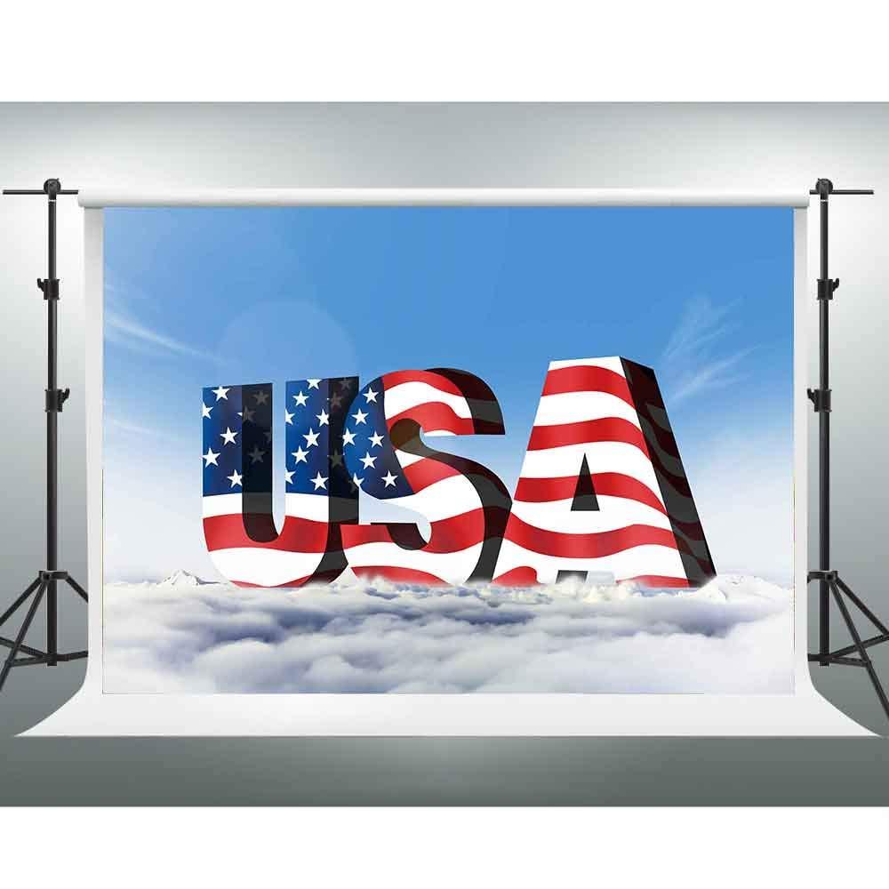 GESEN 背景幕 7x5フィート 抽象的なアメリカ国旗 写真撮影用背景幕 テーマ パーティー チューブ 背景 写真ブース スタジオ小道具 GYGE388   B07G729318