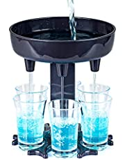 Upgraded 6 Shot Glass Dispenser and Holder Carrier - 6 Shot Glasses Included    6 Ways Shot Glass Dispenser    Carrier Caddy Liquor Dispenser Gifts Drinking Games for Cocktail Party