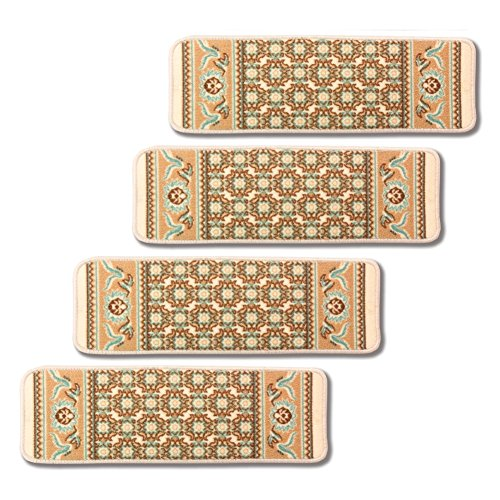 Stonehurst Stair Tread Rug, Non-slip Skid Resistant, Set of 4, Ivory by Stonehurst Rugs