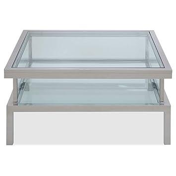 Homy Couchtisch Quadratisch 102x102cm Glas Metall Glasplatte