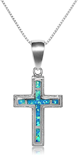 Sterling Silver Turquoise and Lab Opal Cross Necklace Sugilite