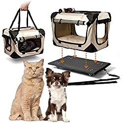 "PetLuv ""Pull-Along Rolling Cat & Dog Carrier & Travel Crate on Wheels - Locking Zippers, Matching Comfy Plush Nap Pillow, Reduces Anxiety"
