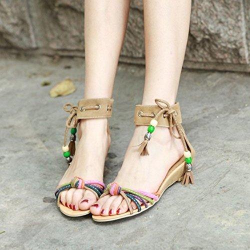 TAOFFEN Mujer Moda Tacon De Cuna Bohemia Sandalias Con Cordones Punta Abierta Zapatos Amarillo