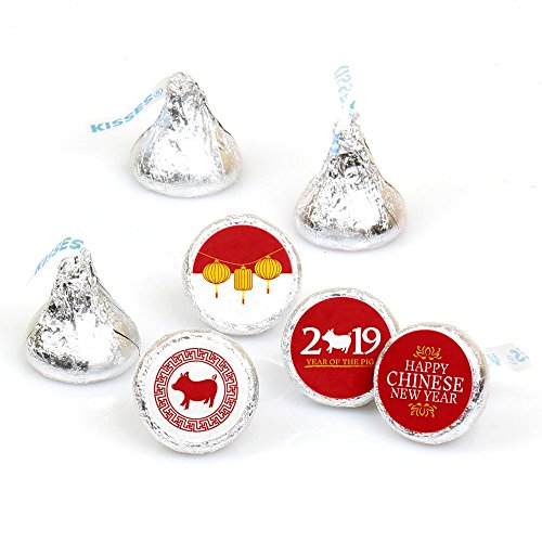 (Chinese New Year - 2019 Year of The Pig Party Round Candy Sticker Favors - Labels Fit Hershey's Kisses (1 Sheet of)