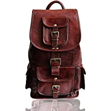 "18"" large leather backpack for women & men hiking rucksack daypack school bag sac a dos laptop backpack gift brown carry-on backpack"