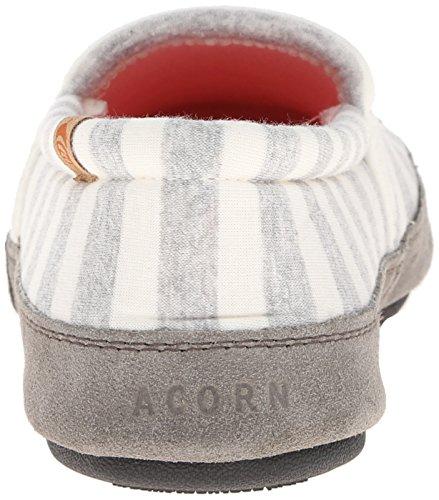 ACORN Womens Moc Summer Weight Slipper White Stripe bEaLAuOkF