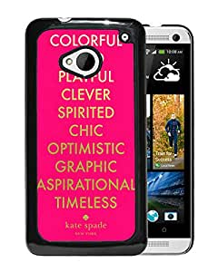 Fashionable And Unique Kate Spade Cover Case For HTC ONE M7 Black Phone Case 268