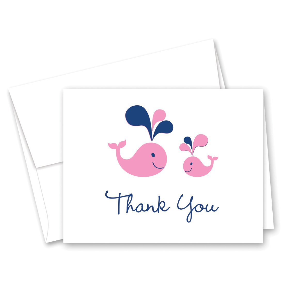 50 Cnt Pink Whale Splash Girl Baby Shower Thank You Cards