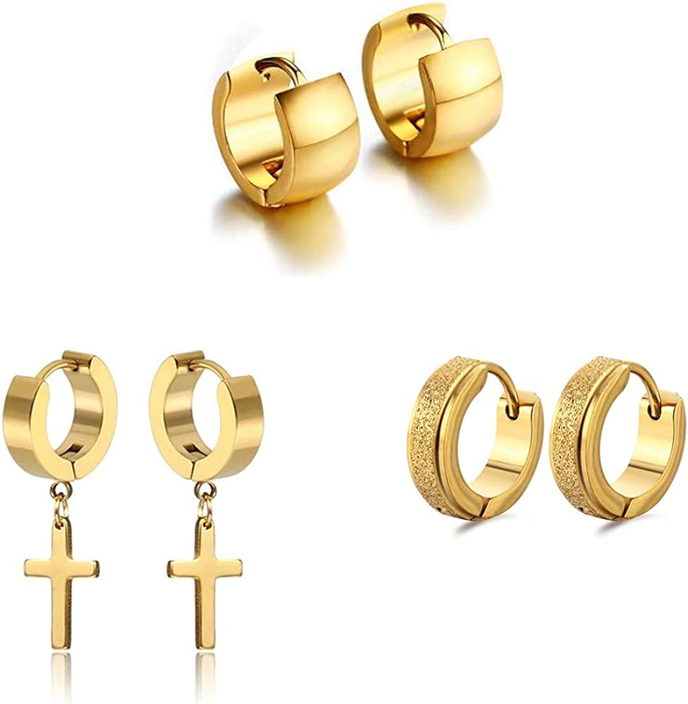 Unisex 3 Pairs Different Style of 18K Gold Plating Hoop Earrings in High Polished Surgical Steel,Safe for Sensitive Ears,Lightweight