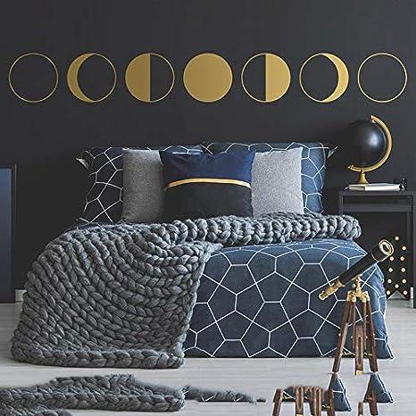 Ajcwhml Fase Lunar Etiqueta de la Pared Fase Lunar decoración de ...