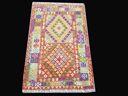 Handmade Rug 3' x 5' Kilim Flat Weave New Native American Inspired Rug