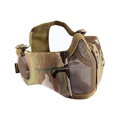 "OneTigris 6"" Foldable Half Face Airsoft Mesh Mask with Ear P"