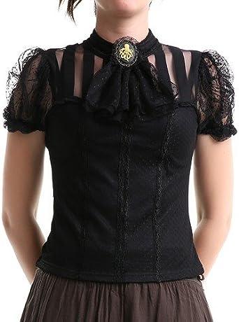 crazyinlove Mujer Camisa negra con jabot negro XXL: Amazon.es: Ropa y accesorios