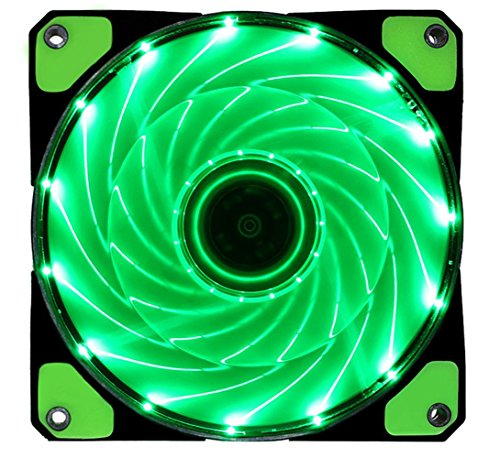 BXQINLENX Dc12V 12025 15PCS LED Quiet Brushless Cooling Fan Miniature Cooling Fan For Computer Cases, CPU Coolers, and Radiators 120x120x25mm 9 Blade (Green)