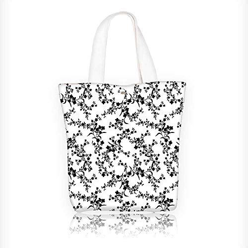 Canvas Zipper Tote Bag Printed Style Curved Flower Baroque Blooms Branches Reusable Canvas Zipper Tote Bag Printed 100% Cotton W11xH11xD3 INCH