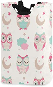 senya Large Collapsible Storage Bin/Owls Birds Storage Basket/Clothes Laundry Hamper/Toy Books Holder(a)