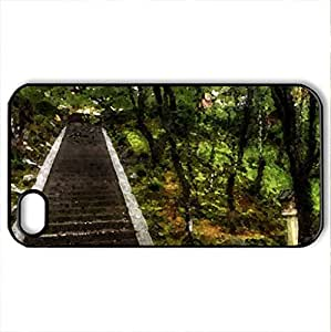 old and new stairs in a park - Case Cover for iPhone 4 and 4s (Watercolor style, Black) by icecream design