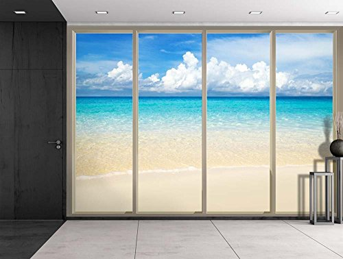 Clouds Over the Shore and Beach Viewed From Sliding Door Creative Wall Mural Peel and Stick Wallpaper