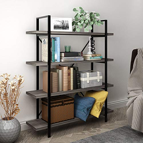 45MinST 4-Tier Vintage Industrial Style Bookcase/Metal and Wood Bookshelf Furniture for Collection, Gray Oak 3/4/5 Tier - Dark Oak Bookcase