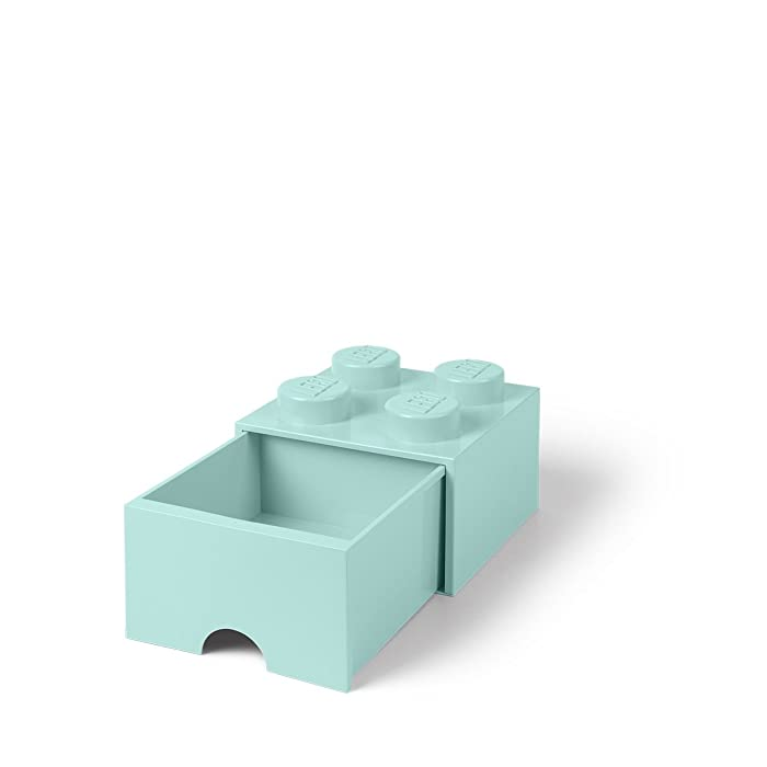LEGO Brick Drawer, 4 Knobs, 1 Drawer, Stackable Storage Box, Aqua Mint Green