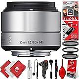 Sigma 30mm F2.8 EX DN Art Lens (Silver) for Sony E (33S965) 17PC 16GB Bundle