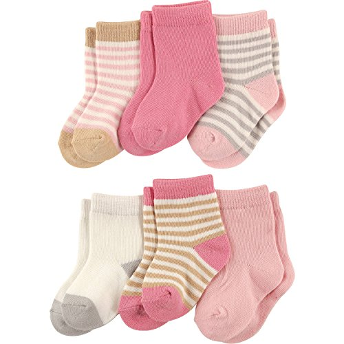 Touched by Nature Baby Girls 6 Pack Cotton Socks (Girls Stripes) (12-24 Months)