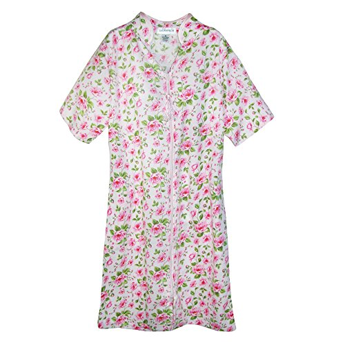 hort Sleeve Floral Zip Front Duster, Small, Pink (Satin Zip Robe)